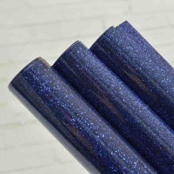 Термотрасферная пленка с глиттером, цвет синий, размер 20Х25 см, арт. glpl-09
